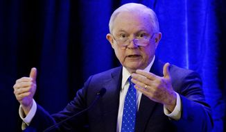 Attorney General Jeff Sessions speaks at the International Association of Chiefs of Police division midyear conference Thursday, March 15, 2018, in Nashville, Tenn. (AP Photo/Mark Zaleski)