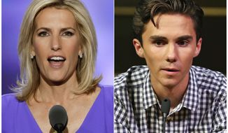 In this combination photo, Fox News personality Laura Ingraham speaks at the Republican National Convention in Cleveland on July 20, 2016, left, and David Hogg, a student survivor from Marjory Stoneman Douglas High School in Parkland, Fla., speaks at a rally for common sense gun legislation in Livingston, N.J. on  Feb. 25, 2018. Some big name advertisers are dropping Ingraham after she publicly criticized Hogg, a student at Marjory Stoneman Douglas school on social media. The online home goods store Wayfair, travel website TripAdvisor and Rachel Rays dog food Nutrish all said they are removing their support from Ingraham.  (AP Photo/J. Scott Applewhite, left, and Rich Schultz)