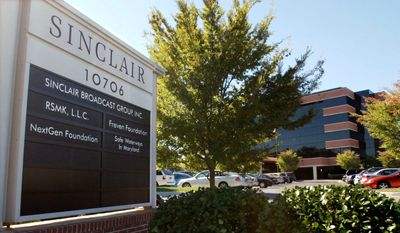 In this Tuesday, Oct. 12, 2004, file photo, Sinclair Broadcast Group, Inc.'s headquarters stands in Hunt Valley, Md.  (AP Photo/Steve Ruark, File)