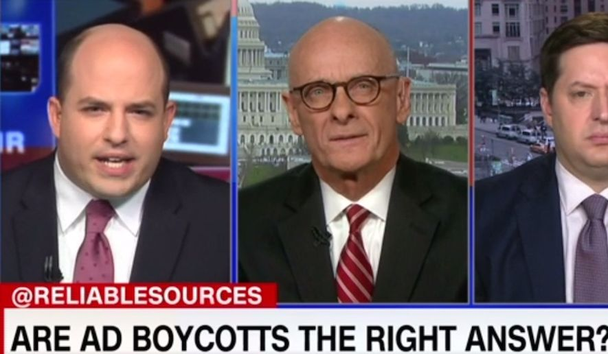 """CNN's Brian Stelter discusses ad boycotts during the April 1, 2018, broadcast of """"Reliable Sources."""" Fox News star Laura Ingraham recently lost advertisers for her social media criticism of Parkland shooting survivor David Hogg despite issuing an apology. (Image: CNN screenshot)"""