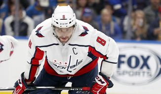 Washington Capitals' Alex Ovechkin waits for a face-off during the second period of an NHL hockey game against the St. Louis Blues Monday, April 2, 2018, in St. Louis. (AP Photo/Jeff Roberson)