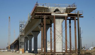 FILE - This Dec. 6, 2017 file photo shows one of the elevated sections of the high-speed rail under construction in Fresno, Calif. High-speed rail executives are urging skeptical lawmakers to provide more long-term funding for the bullet train in the face of ballooning costs. (AP Photo/Rich Pedroncelli, File)
