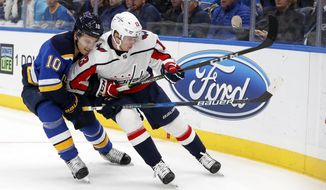 St. Louis Blues' Brayden Schenn (10) and Washington Capitals' Jakub Vrana (13) chase after a loose puck along the boards during the third period of an NHL hockey game Monday, April 2, 2018, in St. Louis. The Capitals won 4-2. (AP Photo/Jeff Roberson)