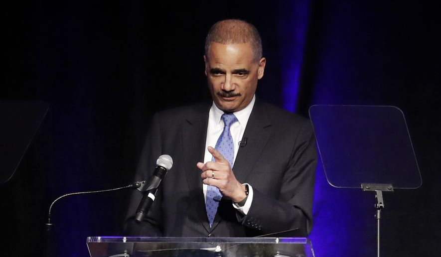In this file photo, former Attorney General Eric Holder speaks at the Peabody Hotel Monday, April 2, 2018, in Memphis, Tenn. Mr. Holder is scheduled to headline a June 1 event in New Hampshire, the state set to hold the first presidential primary in 2020. (AP Photo/Mark Humphrey) **FILE**