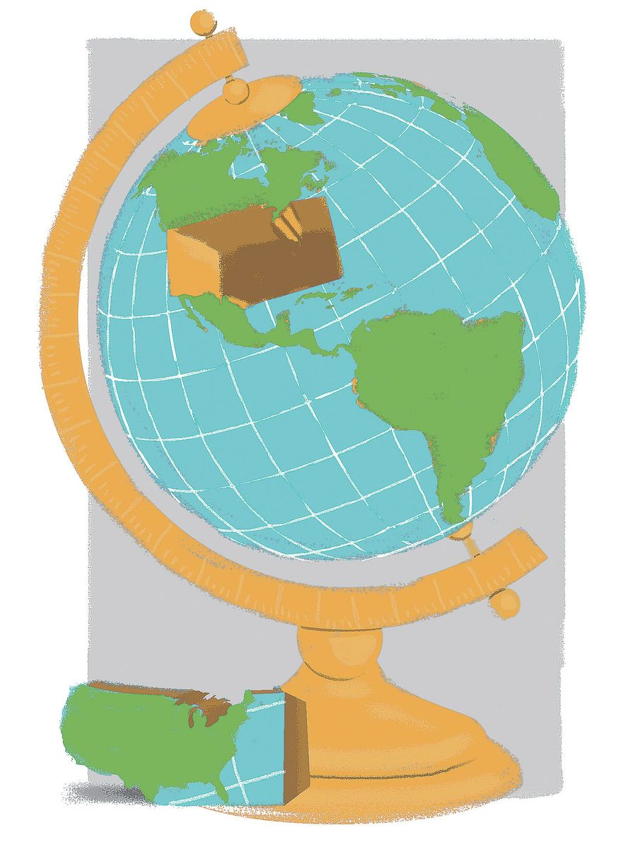 Illustration on American anti-globalism by Linas Garsys/The Washington Times