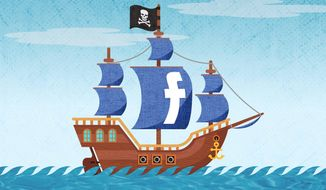 Facebook Pirates Illustration by Greg Groesch/The Washington Times