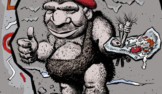Illustration on the artistic side of the Neanderthals by Alexander Hunter/The Washington Times