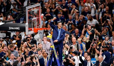 Villanova coach Jay Wright has resisted overtures in the past from NBA teams, but winning a second national title in three years on Monday night could make him think twice about leaving. (ASSOCIATED PRESS)