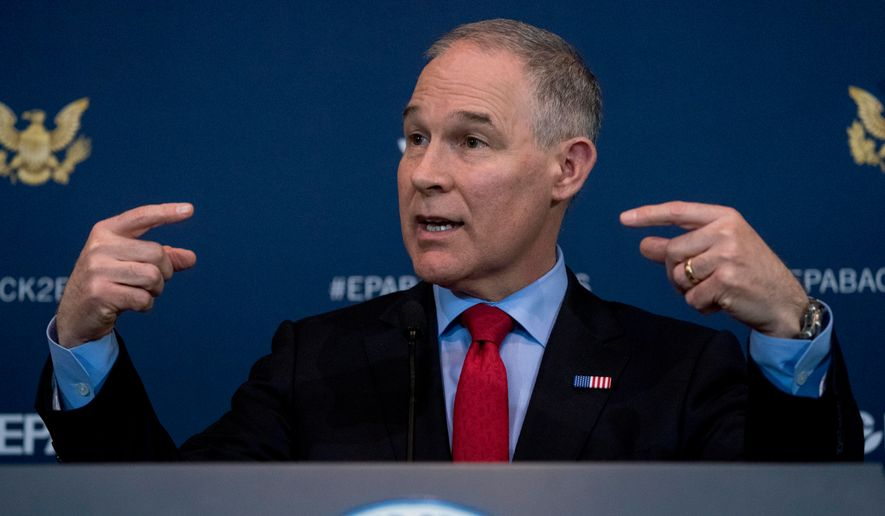 FILE - In this April 3, 2018 file photo Environmental Protection Agency Administrator Scott Pruitt speaks at a news conference at the Environmental Protection Agency in Washington. Pruitt indicated this week he may target a longstanding federal waiver that allows California to set its own, tougher tailpipe emission standards, an exception that's allowed the state to prod the rest of nation to do more against air pollution and climate change for a half-century. (AP Photo/Andrew Harnik,File)