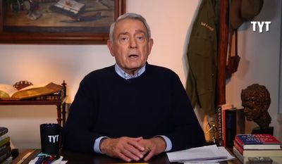 Former CBS journalist Dan Rather criticized Sinclair Broadcasting on April 2, 2018, during a YouTube broadcast for The Young Turks. (Image: YouTube, 'TYT' screenshot)