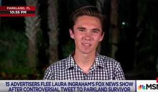 "Parkland shooting survivor David Hogg told MSNBC's Lawrence O'Donnell on April 2, 2018, that ""shadowy figures"" are not augmenting or facilitating his gun-control activism. (Image: MSNBC screenshot)"