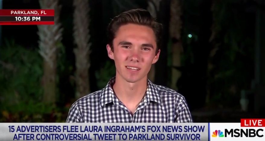 """Parkland shooting survivor David Hogg told MSNBC's Lawrence O'Donnell on April 2, 2018, that """"shadowy figures"""" are not augmenting or facilitating his gun-control activism. (Image: MSNBC screenshot)"""