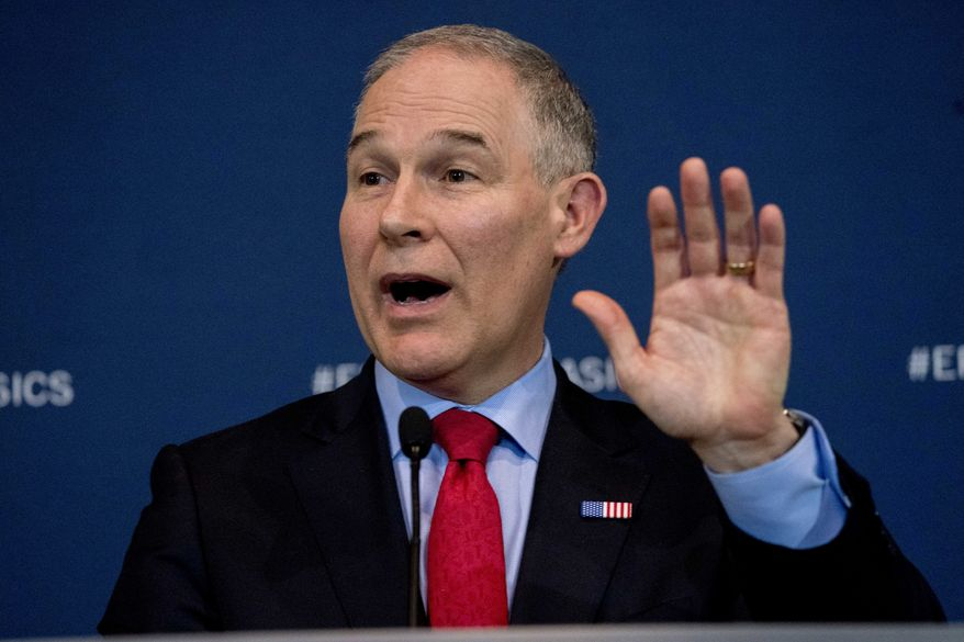 Environmental Protection Agency Administrator Scott Pruitt speaks at a news conference at the Environmental Protection Agency in Washington, Tuesday, April 3, 2018, on his decision to scrap Obama administration fuel standards. (AP Photo/Andrew Harnik)