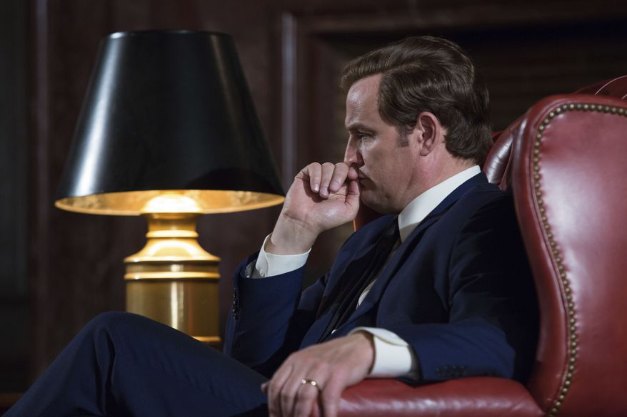"This image released by Entertainment Studios shows Jason Clarke as Ted Kennedy in a scene from ""Chappaquiddick."" (Claire Folger/Entertainment Studios via AP)"
