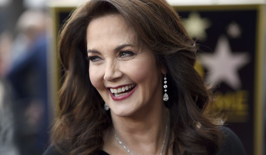 """Lynda Carter, star of the TV series """"Wonder Woman,"""" appears at a ceremony honoring her with a star on the Hollywood Walk of Fame on Tuesday, April 3, 2018, in Los Angeles. (Photo by Chris Pizzello/Invision/AP)"""