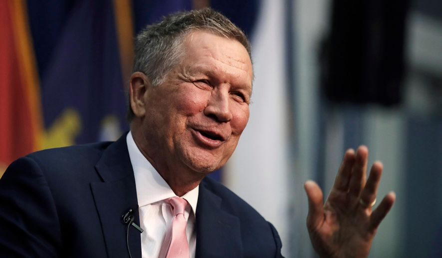 Ohio Gov. John Kasich, a former 2016 Republican Presidential hopeful, smiles as he addresses a gathering during a visit to New England College in Henniker, N.H., Tuesday, April 3, 2018. (AP Photo/Charles Krupa) ** FILE **