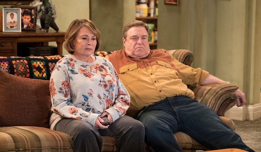 "FILE - In this image released by ABC, Roseanne Barr, left, and John Goodman appear in a scene from the reboot of ""Roseanne."" The Nielsen company said viewership for the show's premiere shot up to 25 million people when you count people who watched the three days after last Tuesday's premiere. Never before has a show gained that many viewers via time shifting within three days. (Adam Rose/ABC via AP, File)"