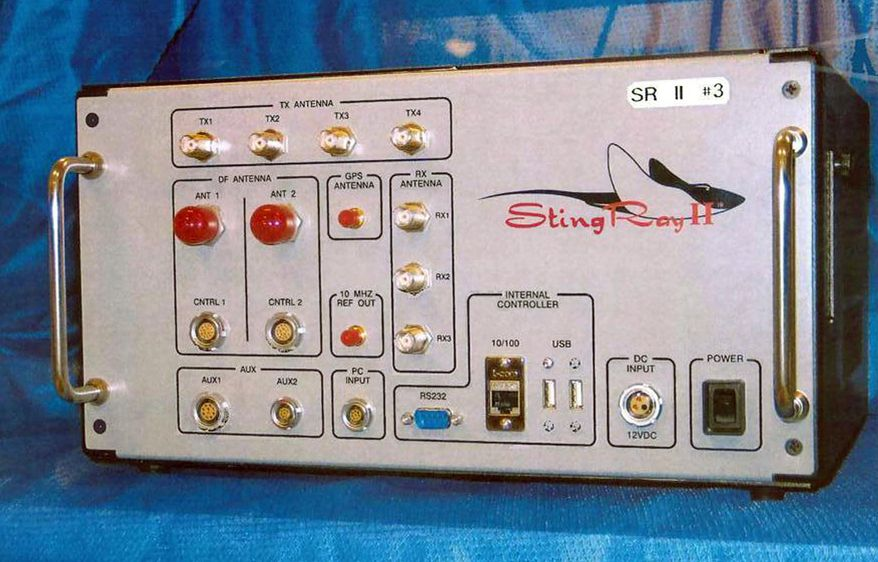 This undated file photo provided by the U.S. Patent and Trademark Office shows the StingRay II, a cellular site simulator used for surveillance purposes manufactured by Harris Corporation, of Melbourne, Fla. (U.S. Patent and Trademark Office via AP, File)