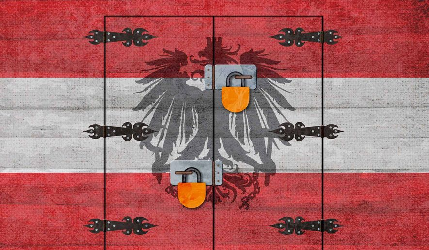 Austria Immigration Door Locked Illustration by Greg Groesch/The Washington Times