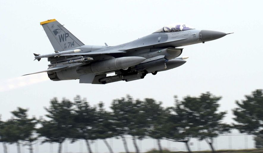 "U.S. Air Force's F-16 fighter takes off during an annual joint air exercise ""Max Thunder"" between South Korea and the U.S. at a US air base in Gunsan, South Korea, Thursday, April 20, 2017. (Go Bum-jun/Newsis via AP)"
