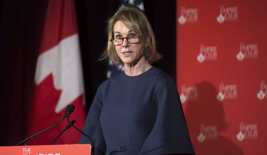 Kelly Craft, U.S. Ambassador to Canada, speaks about NAFTA and Canada-US relations at an Empire Club meeting in Toronto on Wednesday, April 4, 2018. (Chris Donovan/The Canadian Press via AP)