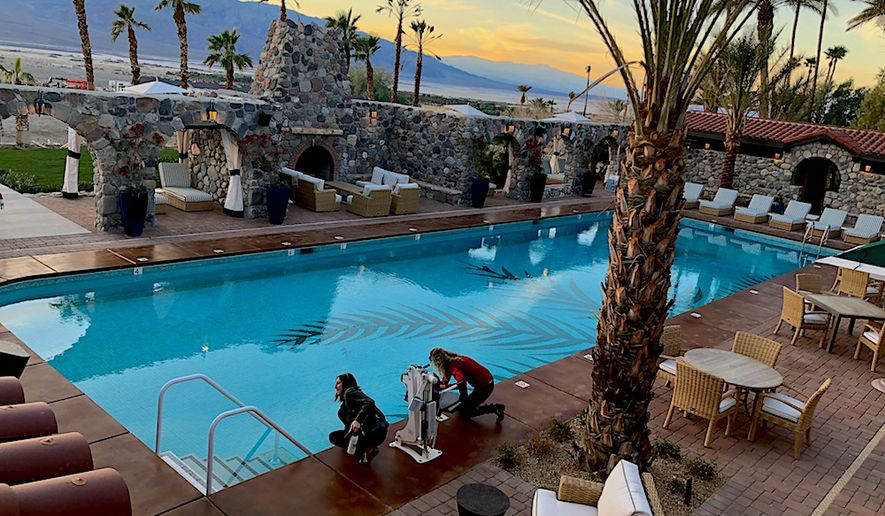 The Inn at Death Valley pool, a truly sybaritic oasis fed by warm mineral springs.