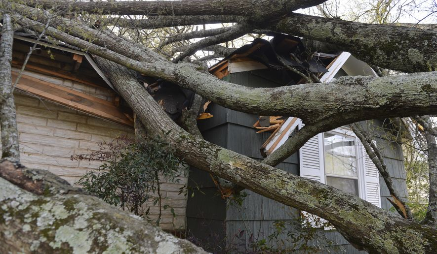 A fallen tree rests upon the home it damaged in this April 4, 2018, file photo. (Crystal Vander Weit/The Decatur Daily via AP) **FILE**