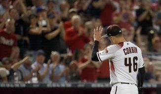 Arizona Diamondbacks starting pitcher Patrick Corbin (46) leaves the baseball game against the Los Angeles Dodgers during the eighth inning Wednesday, April 4, 2018, in Phoenix. The Diamondbacks won 3-0. (AP Photo/Matt York)