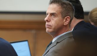 FILE - In this Feb. 28, 2018 file photo Adam Shacknai sits in court during the civil trial, in San Diego for the wrongful death of Rebecca Zahau. A civil jury has determined Shacknai, is legally responsible for the death of Zahau, found hanged at a San Diego-area mansion. Jurors in the wrongful death trial decided Wednesday, April 4, 2018, that Shacknai must pay Rebecca Zahau's family $5 million for the loss of Zahau's love and companionship. (Nelvin C. Cepeda/The San Diego Union-Tribune via AP)   /The San Diego Union-Tribune via AP)