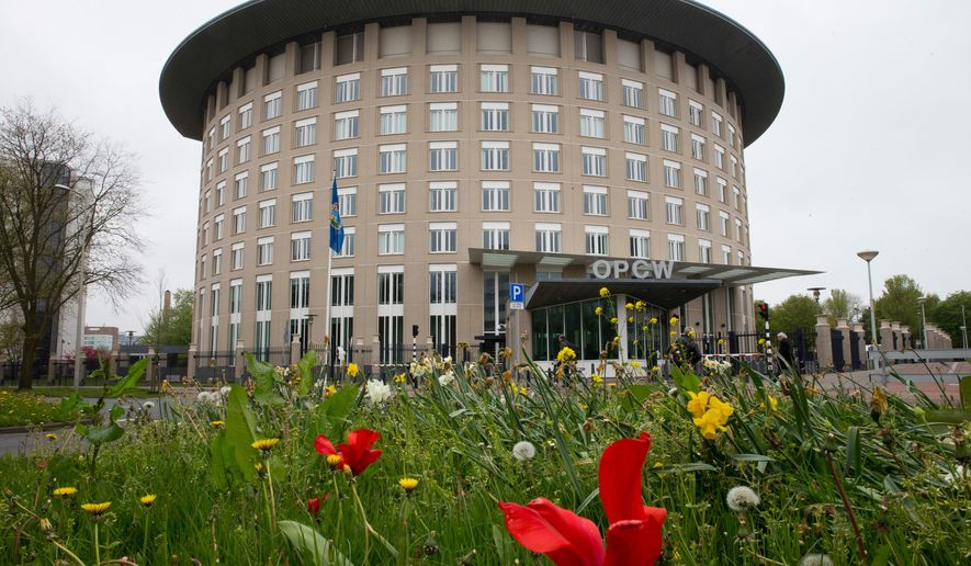 In this Friday April 21, 2017, image the headquarters of the Organization for the Prohibition of Chemical Weapons (OPCW) are seen in The Hague, Netherlands. The OPCW is holding a special executive council meeting Wednesday April 4, 2018, which will likely discuss the nerve agent attack on a former Russian spy and his daughter last month. (AP Photo/Peter Dejong)