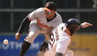 Houston Astros' Derek Fisher, right, steals second as Baltimore Orioles' Tim Beckham waits for the throw during the seventh inning of a baseball game, Wednesday, April 4, 2018, in Houston. (AP Photo/Eric Christian Smith)