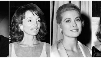 This combination photo shows, from left, Wallis Simpson in 1941, Lee Radziwill in 1974, actress Grace Kelly in 1954 and actress Rita Hayworth in 1956. Actress Meghan Markle will join the list of American women who have married into royal families when she weds Britain's Prince Harry on May 19. (AP Photo)