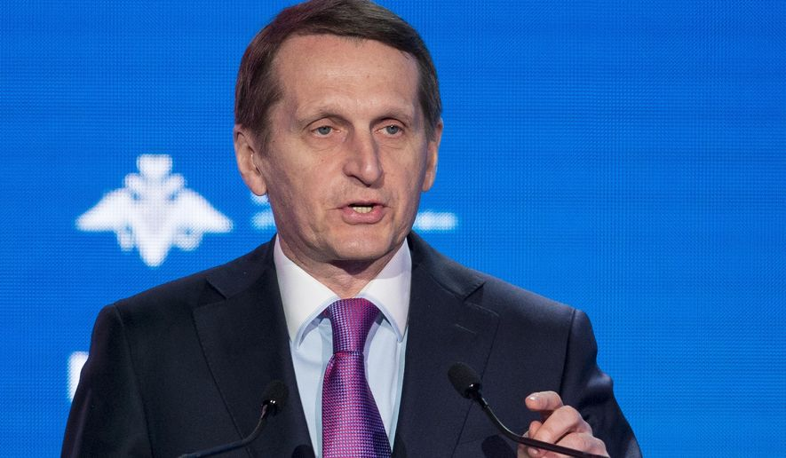 Sergei Naryshkin, head of the Russian Foreign Intelligence Service speaks during the Conference on International Security in Moscow, Russia, Wednesday, April 4, 2018. (AP Photo/Alexander Zemlianichenko)