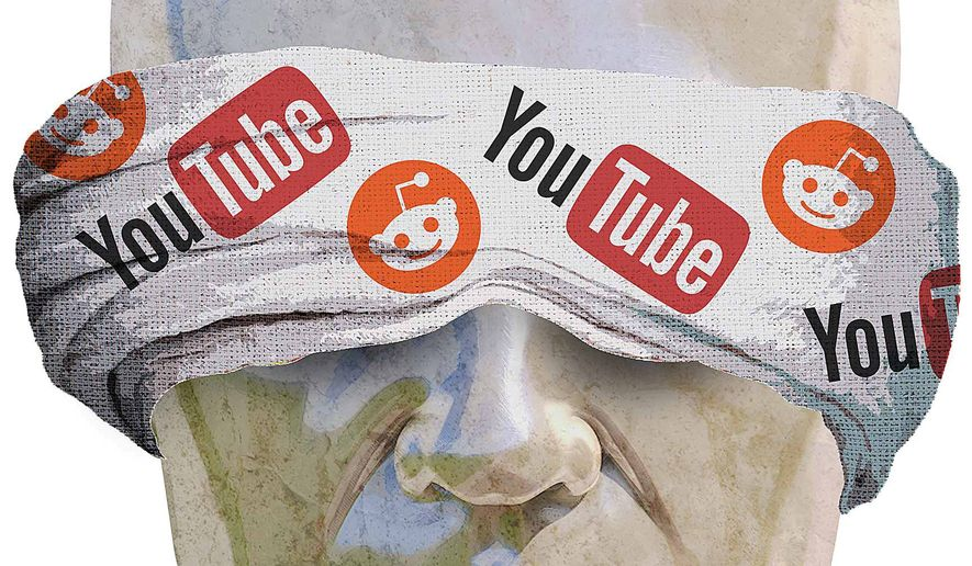 Censored by Reddit and YouTube Illustration by Greg Groesch/The Washington Times