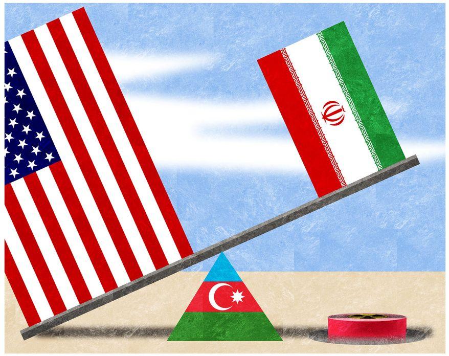 Illustration on Azerbaijan's strategic role by Alexander Hunter/The Washington Times
