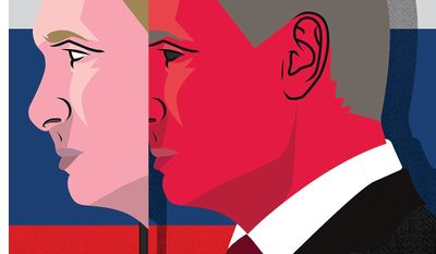 Illustration on the nature of Vladimir Putin by Linas Garsys/The Washington Times