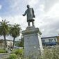 The century old statue of President William McKinley stands in the Arcata Plaza in Arcata, Calif., in this undated photo. The statue has long been a target for pranksters. Vandals have used cheese, condoms and marijuana to abuse the likeness of the 25th president, an Ohio native. Last month, Michael Schleyer an Arcata resident presented city officials with 1,300 signatures on a petition seeking to remove the statue there. Some have suggested sending the statue to the family of the man who commissioned it or to the Wm. McKinley Presidential Library & Museum in Canton, Ohio. (AP Photo/The Times-Standard, Shaun Walker)