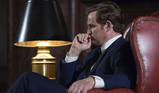 """This image released by Entertainment Studios shows Jason Clarke as Ted Kennedy in a scene from """"Chappaquiddick."""" (Claire Folger/Entertainment Studios via AP)"""