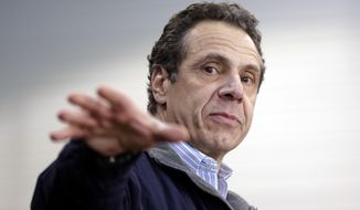 New York Gov. Andrew Cuomo speaks at an event in New York, Monday, April 2, 2018. Cuomo was touting the funds in the new state budget to help fix decrepit public housing in New York City. (AP Photo/Seth Wenig)