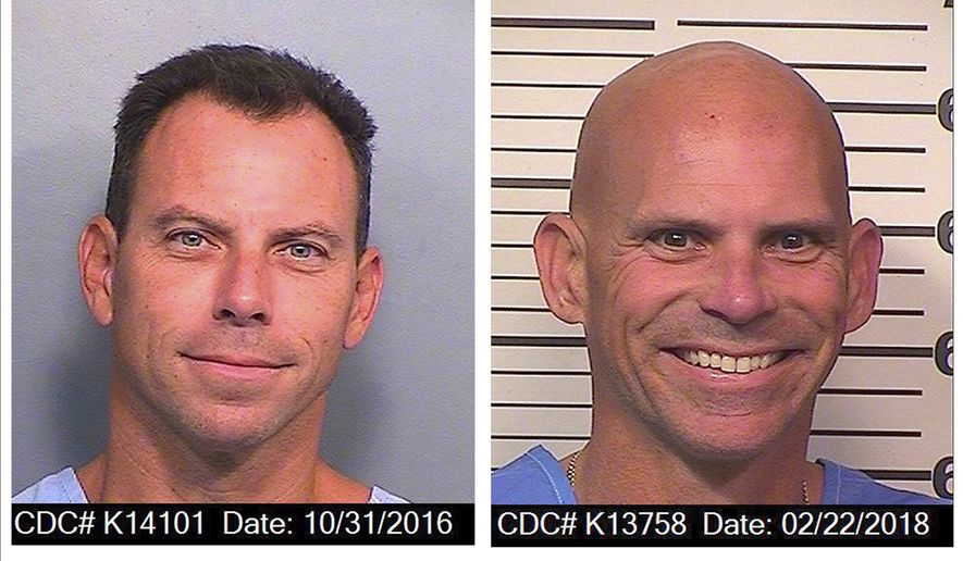 An Oct. 31, 2016 photo provided by the California Department of Corrections and Rehabilitation shows Erik Menendez, left, and a Feb. 22, 2018 photo provided by the California Department of Corrections and Rehabilitation shows Lyle Menendez. The Menendez brothers, who were convicted of killing their parents in their Beverly Hills mansion nearly three decades ago, have been reunited in the Southern California prison San Diego's R.J. Donovan Correctional Facility. The brothers are serving life sentences for fatally shooting their parents, Jose and Kitty Menendez, in 1989.  (California Department of Corrections and Rehabilitation via AP)