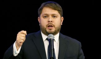 In this Nov. 4, 2014, file photo, then Rep.-elect Ruben Gallego. D-Ariz., gives his victory speech in Phoenix. (AP Photo/Matt York, File)