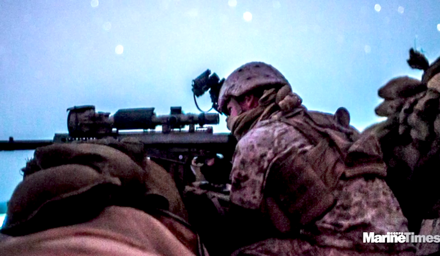 Marine spokesperson Capt. Christopher Harrison recently confirmed that snipers will carry the Mk 13 Mod 7 instead of the M40 system favored since the Vietnam War. (Image: Marine Corps Times video screenshot)