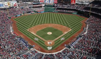 Washington Nationals starting pitcher Stephen Strasburg (37) throws against the New York Mets during the first inning of home opener baseball game, at Nationals Park, Thursday, April 5, 2018 in Washington. (AP Photo/Pablo Martinez Monsivais)  **FILE**
