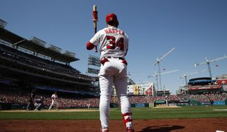 Washington Nationals right fielder Bryce Harper (34) warms up before batting during the home opener baseball game against the New York Mets at Nationals Park, Thursday, April 5, 2018, in Washington. (AP Photo/Alex Brandon)