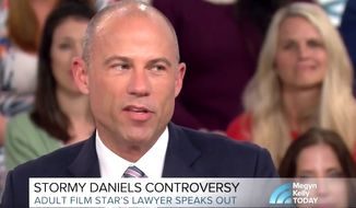 "Attorney Michael Avenatti appeared on ""Kelly TODAY"" to discuss his client, Stormy Daniels, and her alleged 2006 affair with President Trump. April 4, 2018. (Image: NBC screenshot)"
