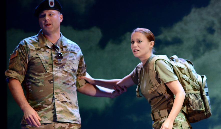 """Members of the The U.S. Army Field Band and Soldiers' Chorus perform a scene from """"The Falling and the Rising"""", an original opera written and performed by U.S. service members. By U.S. Army Field Band and Soldiers' Chorus"""