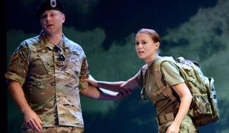 "Members of the The U.S. Army Field Band and Soldiers' Chorus perform a scene from ""The Falling and the Rising"", an original opera written and performed by U.S. service members. By U.S. Army Field Band and Soldiers' Chorus"