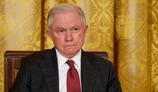 Attorney General Jeff Sessions listens during a summit in the East Room of the White House in Washington on March 1, 2018. (Associated Press) **FILE**