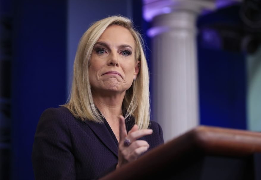 Homeland Security Secretary Kirstjen Nielsen, talks to reporters during the daily press briefing in the Brady press briefing room at the White House, in Washington, Wednesday, April 4, 2018. (AP Photo/Manuel Balce Ceneta)