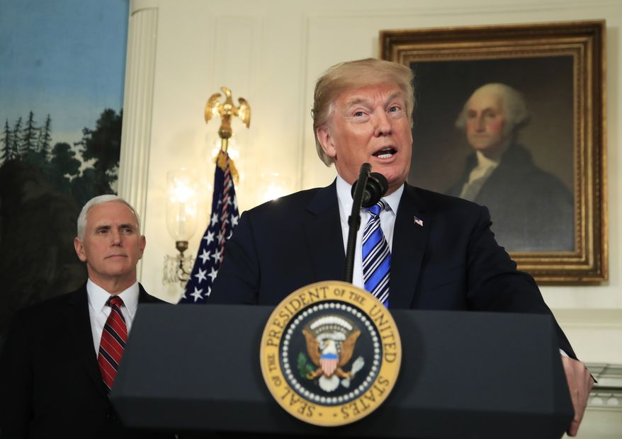 President Donald Trump with Vice President Mike Pence, speaks during a news conference in the Diplomatic Room of the White House in Washington, Friday, March 23, 2018. (AP Photo/Manuel Balce Ceneta)